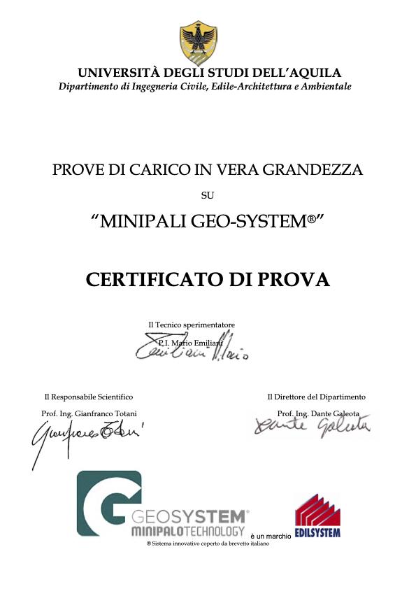Minipalo Geosystem Certificazioni