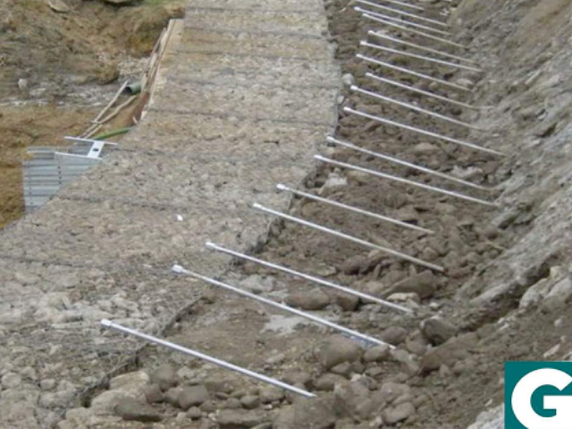 Minipalo Geosystem Studded gabions as low impact support works