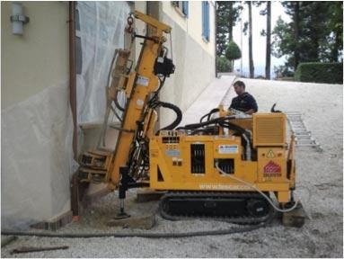 Minipalo Geosystem Élimination du tassement des fondations avec liaison des murs aux fondations